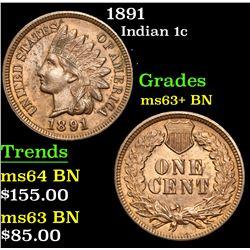 1891 . . Indian Cent 1c Grades Select+ Unc BN
