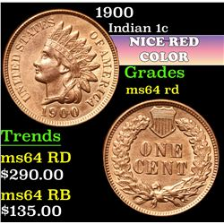 1900 . . Indian Cent 1c Grades Choice Unc RD
