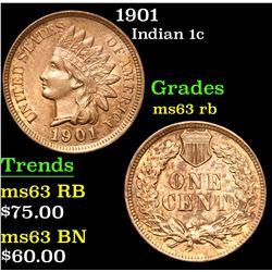 1901 . . Indian Cent 1c Grades Select Unc RB