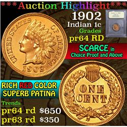 ***Auction Highlight*** 1902 . . Indian Cent 1c Graded Choice Proof Red By USCG (fc)