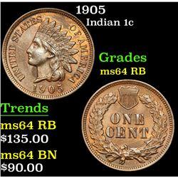 1905 . . Indian Cent 1c Grades Choice Unc RB