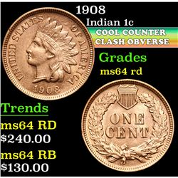 1908 . Cool Counter Clash Obverse  Indian Cent 1c Grades Choice Unc RD