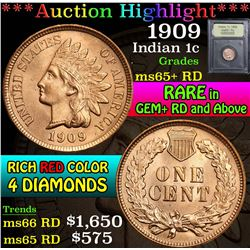 ***Auction Highlight*** 1909 . . Indian Cent 1c Graded Gem+ Unc RD By USCG (fc)