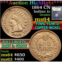 ***Auction Highlight*** 1864 CN . . Indian Cent 1c Graded Choice Unc By USCG (fc)