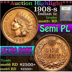 ***Auction Highlight*** 1908-s . Semi PL Indian Cent 1c Graded Gem+ Unc RD By USCG (fc)
