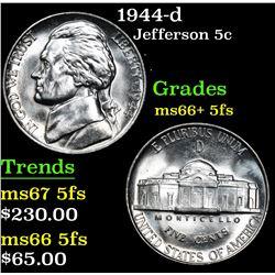 1944-d . . Jefferson Nickel 5c Grades GEM++ 5fs