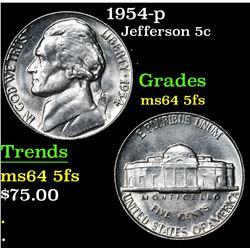 1954-p . . Jefferson Nickel 5c Grades Choice Unc 5fs
