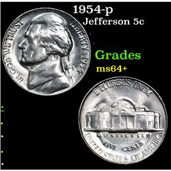 1954-p . . Jefferson Nickel 5c Grades Choice+ Unc