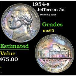 1954-s Stunning color . Jefferson Nickel 5c Grades GEM Unc