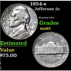1954-s . Stunning Color Jefferson Nickel 5c Grades GEM Unc