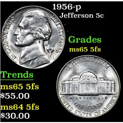 1956-p . . Jefferson Nickel 5c Grades GEM 5fs