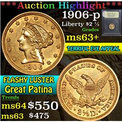 ***Auction Highlight*** 1906-p . . Gold Liberty Quarter Eagle $2 1/2 Graded Select+ Unc By USCG (fc)