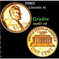 1963 . . Lincoln Cent 1c Grades GEM++ Unc RD