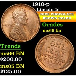 1910-p . . Lincoln Cent 1c Grades GEM+ Unc BN