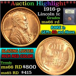 ***Auction Highlight*** 1916-p . . Lincoln Cent 1c Graded GEM+ Unc RD By USCG (fc)