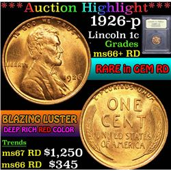 ***Auction Highlight*** 1926-p . . Lincoln Cent 1c Graded GEM++ RD By USCG (fc)