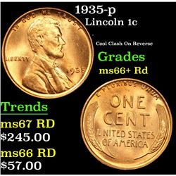 1935-p . Cool Clash On Reverse Lincoln Cent 1c Grades GEM++ RD
