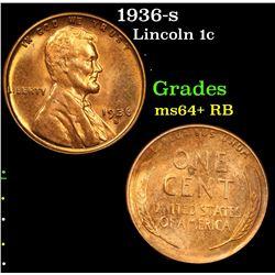 1936-s . . Lincoln Cent 1c Grades Choice+ Unc RB