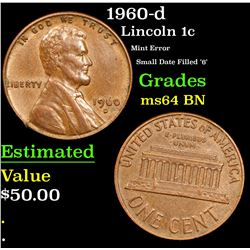 1960-d Mint Error Small Date Filled '6' Lincoln Cent 1c Grades Choice Unc BN