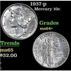1937-p . . Mercury Dime 10c Grades Choice+ Unc