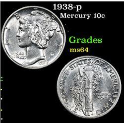 1938-p . . Mercury Dime 10c Grades Choice Unc