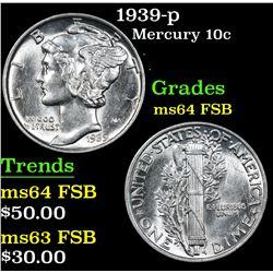 1939-p . . Mercury Dime 10c Grades Choice Unc FSB