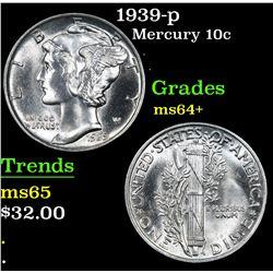 1939-p . . Mercury Dime 10c Grades Choice+ Unc