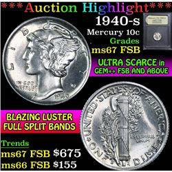 ***Auction Highlight*** 1940-s . . Mercury Dime 10c Graded GEM++ FSB By USCG (fc)