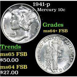 1941-p . . Mercury Dime 10c Grades Choice Unc+ FSB