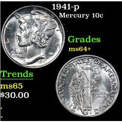1941-p . . Mercury Dime 10c Grades Choice+ Unc