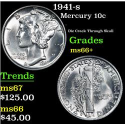 1941-s . Die Crack Through Skull Mercury Dime 10c Grades GEM++ Unc