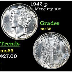 1942-p . . Mercury Dime 10c Grades GEM Unc