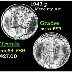 1943-p . . Mercury Dime 10c Grades Choice Unc FSB