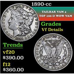 1890-cc Tailbar Vam 4 Top 100 & WOW Vam Morgan Dollar $1 Grades vf details