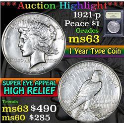 1921-p . . Peace Dollar $1 Grades Select Unc
