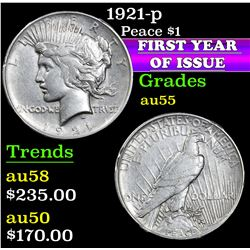 1921-p . . Peace Dollar $1 Grades Choice AU