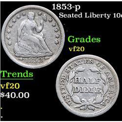 1853-p . . Seated Liberty Dime 10c Grades vf, very fine