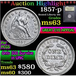 ***Auction Highlight*** 1857-p . . Seated Liberty Dime 10c Graded Select Unc By USCG (fc)