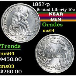 1887-p . . Seated Liberty Dime 10c Grades Choice Unc