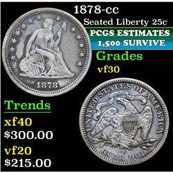1878-cc . . Seated Liberty Quarter 25c Grades vf++