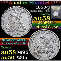 1856-p . . Seated Half Dollar 50c Grades Choice AU/BU Slider