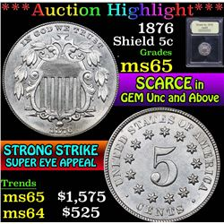 ***Auction Highlight*** 1876 . . Shield Nickel 5c Graded GEM Unc By USCG (fc)
