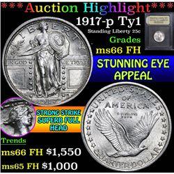 1917-p Ty1 . . Standing Liberty Quarter 25c Grades GEM+ FH