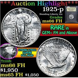 ***Auction Highlight*** 1925-p . . Standing Liberty Quarter 25c Graded GEM+ FH By USCG (fc)