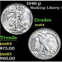 1946-p . . Walking Liberty Half Dollar 50c Grades Choice Unc