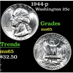 1944-p . . Washington Quarter 25c Grades GEM Unc