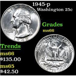 1945-p . . Washington Quarter 25c Grades GEM+ Unc