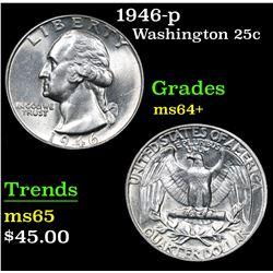 1946-p . . Washington Quarter 25c Grades Choice+ Unc