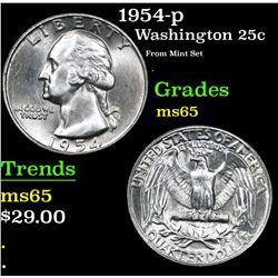1954-p From Mint Set  . Washington Quarter 25c Grades GEM Unc