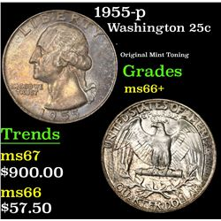1955-p . Original Mint Toning Washington Quarter 25c Grades GEM++ Unc